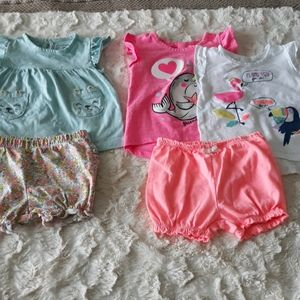 Baby girl bundle outfit shirts tops 12m carters